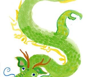 Green Chinese Dragon, Zen Dragon, Chinese New Year Zodiac, Watercolor Original Painting, zen decor, childs room art, japan illustration tao