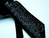Screen Printed Tie - Men's Necktie - Locomotive Tie - Gift Wrapped - Choose color and quantity