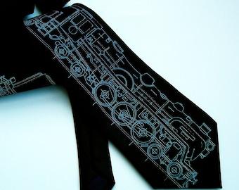Screen Printed Tie - Men's Necktie - Locomotive Tie - Premium Quality Microfiber Tie - Gift Wrapped - Choose color and quantity