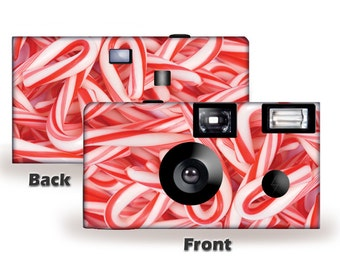 20 cameras-Candy Canes Holiday Disposable Cameras-Merry Christmas, Happy Holidays, Seasons Greetings, disposable cameras, single use