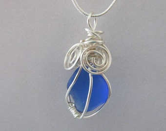 Blue Sea Glass Jewelry, Wire Wrapped Pendant, Beach Glass Pendant, Sea Glass Pendant, Gift for Women, Wedding Gift, Sea Glass Jewelry