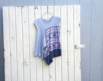 Upcycled Shirt, Grey Shirt, Summer Shirt, Gray Tunic, Fun Clothes, Recycled Clothing, Reclaimed Shirt, Fun Clothes, Handmade Clothing
