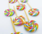 20 Lollipops Miniature Polymer Clay Candy Supplies for Dollhouse