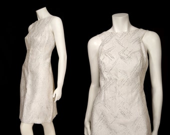 Vintage 60s Silver Metallic Sleeveless Short Dress sz M Squared Armholes Bow Back Detail