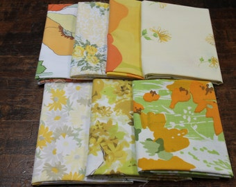 Vintage Bed Sheet Fabric reclaimed fabric Fat Quarters Yellow Orange floral stash builder bundle quilting decor sewing Flawed Bundle 7FQ