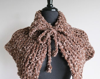 Outlander Inspired Capelet Mocha Brown Light Taupe Color Knitted Cowl Mini Poncho Turtleneck Collar with Crocheted Ties