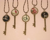 Quilt Key Necklace Pendant Crazy Quilt Hand Embroidery Feather Stitched Gift For Her Under 20
