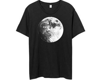 Men Black Shirt - Full Moon Shirt - Moon Tshirt - Moons - Mens Crew NecK - Moon Tee -  Small, Medium, Large, XL, 2XL