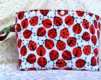 Lady Bugs with Lady Bugs in Grass Lining Project Bag or Tote