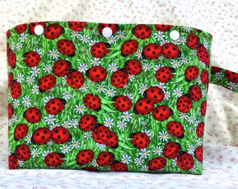 Lady Bugs in Grass with Lady Bug Lining Project Bag or Tote