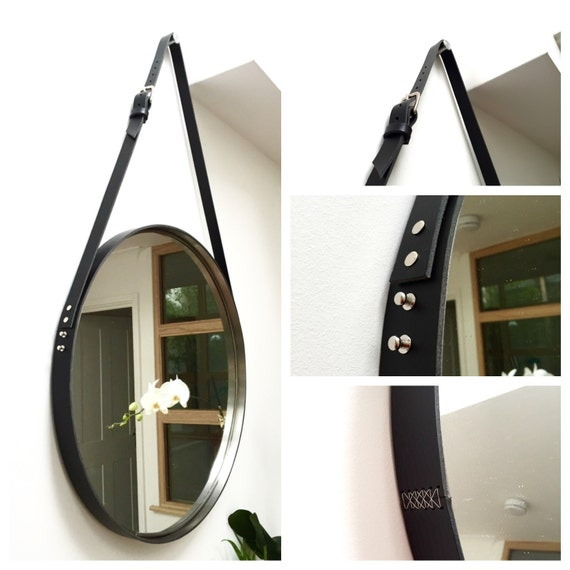 Nobi black leather strapped mirror adnet jamie young style for Mirror hanging kit