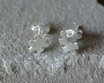 Sterling Silver Puzzle Piece Stud Earrings