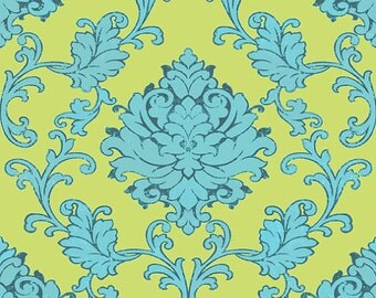 Bohemian Festival - Green Damask - C2931- By Lila Tueller for Riley Blake Design - 1/2 Yard