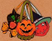 Printable Vintage Halloween Door Hanger Party Favor Toy Printable Halloween Witch Cat Pumpkin Toy Favor Digital Collage Sheet Download
