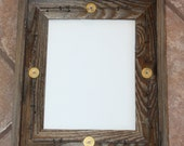 Rustic Barnwood Picture Frame 8x10 Fencewood Reclaimed Recycled with Barbed Wire and Shotgun Shells