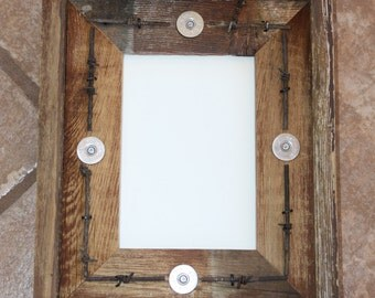 Rustic Barnwood Picture Frame 5 x 7 Fencewood Reclaimed Recycled with Barbed Wire and Shotgun Shells