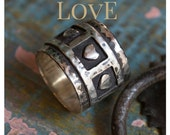 Triple hearts ring, heart band, valentines ring, Sterling silver band, wide band, hammered silver ring, Boho ring - Live laugh love - R1281S