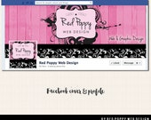 Facebook Cover Timeline Photo Design with Avatar, Premade Facebook graphics, Chic Pink and Black