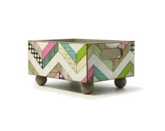 Storage bin with multi-pattern chevron, recipe card holder, decorative centerpiece in a rustic home decor or country kitchen decor