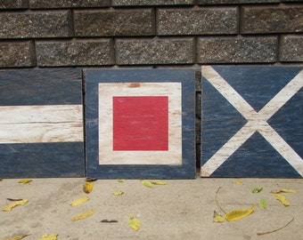Large Wooden Nautical Flags. 16 Inch Nautical Fags. Nautical Decor. Distressed and Antiqued Nautical Wall Decor. Made To Order