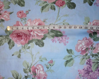 roses on blue fabric