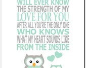 Kids Wall Art, Mint Gray Nursery Art, Baby Girl Room Decor, Owls, Quote, No One Else Will Ever Know the Strength of My Love, Print