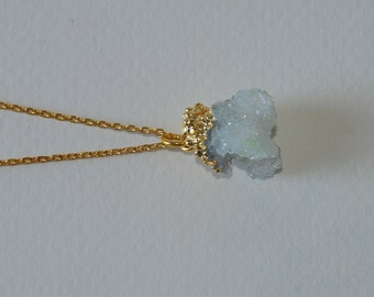 Amethyst Druzy necklace - aura amethyst necklace - a wire wrapped aura amethyst  hanging from a 14k gold vermeil chain