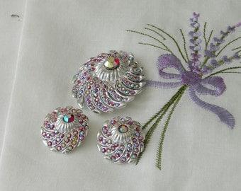 Vintage Pinkish Purple Swarovski Rhinestone Brooch and Clip on Earring Set, Bridal Jewelry, Vintage Bling