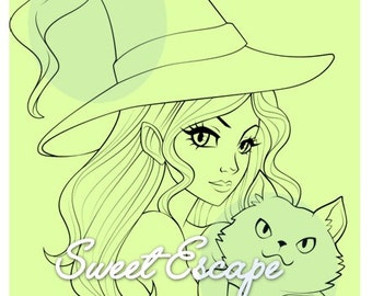 Witch and cat Digital Stamp