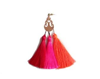 Tassel Statement Earring, Long Single Earring, Neon Brights Tassel Jewelry