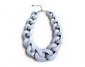 Concrete Grey Chain Link Necklace, Chunky Grey Oversized Statement Necklace