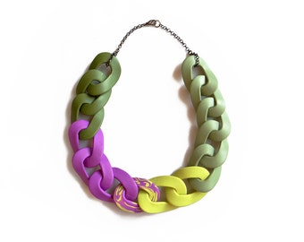 Multicolor Statement Necklace, Chunky Bib Necklace, Purple Green Link Necklace
