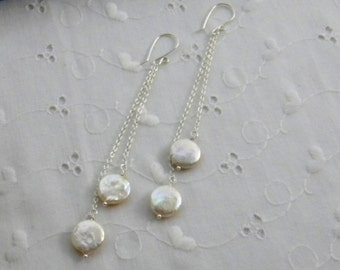 Coin Pearl Earrings Extra Long Bridal Earrings Wedding Jewelry Freshwater Pearl Earrings Dangle Earrings Sterling silver earrings