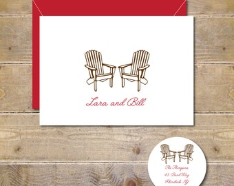 Wedding Thank You Cards, Adirondack Chairs, Adirondack Chair Cards, Rustic, Thank You Cards, Bridal Shower, Affordable Weddings