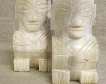 Vintage Carved Stone Bookends, Tiki, Montezuma, Marble, Mexico, Mexican, White, Library, Pair, Male Figure, Set of 2, Mid-Century, Boho Chic