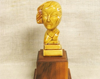 Ceramic Female Bust, Gold, Ocher, Female Figure, Portrait, Ceramic Bust, Human Head, Woman, Bust on Base, Statue, Decorative Accessories