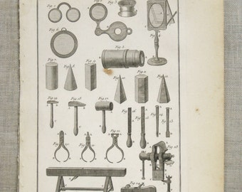 Engraving , Bookplate , Bernard Direxit , 1700s , Tools , Instruments , 18th Century , Original , Art , Ephemera , Vannier , Outils ,Paper