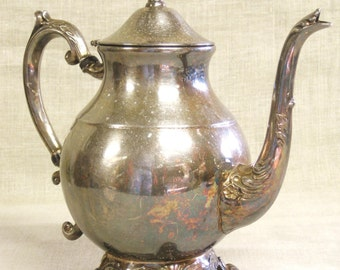 Teapot , Silver Plate , Silver Teapot , Pitcher , Metal , Rogers , Serving , Entertaining , Ornate , Formal Tea , Water Pitcher ,Dining Room