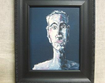 Male Portrait Painting, Wil Shepherd Fine Art, Male Portraiture, Original Painting of Men, Wil Shepherd Studio,Framed Art, Acrylic,Male Bust