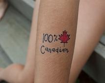 Temporary Tattoo • 100% Canadian • Canada Day • Maple Leaf • Kids Temporary Tattoos • SET OF 2 by carolyndraws