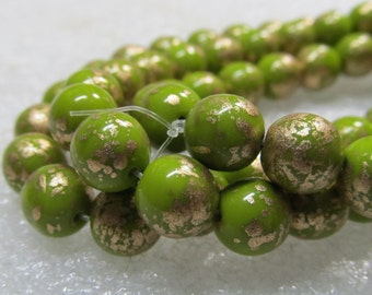 Czech Glass Beads 8mm Opaque Pistachio Green and Golden Highlights Smooth Rounds - 12 Pieces