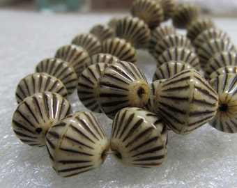 Glass Beads 10mm Earthtone Bone With Chocolate Highlights Etched Bi Cone Nuggets  - 10 Pieces