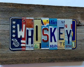 WHISKEY license plate sign tomboyART art recycled upcycled pig BBQ bourbon rye american pie
