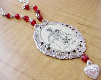 Have Heart Skeleton Anatomy Necklace with Sterling Silver German Glass Glitter