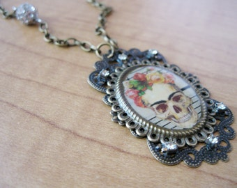 Day of the Dead Frida Kahlo Catrina Cameo Necklace featuring Music Sheet from the Early 1900's