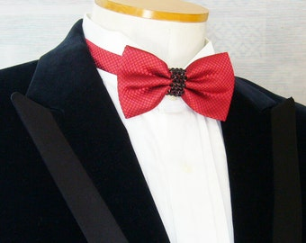 Red Textured Rhinestoned Pre-tied Adjustable Bow Tie - Black Rhinestones