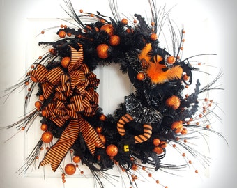 Halloween Wreath * Black and Orange Wreath * Witch Wreath * Halloween Decor * Front Door Wreath * Fall Wreath * Witch Halloween