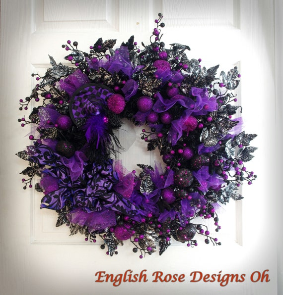 Witch Wreath Witch Legs Purple And Black Wreath