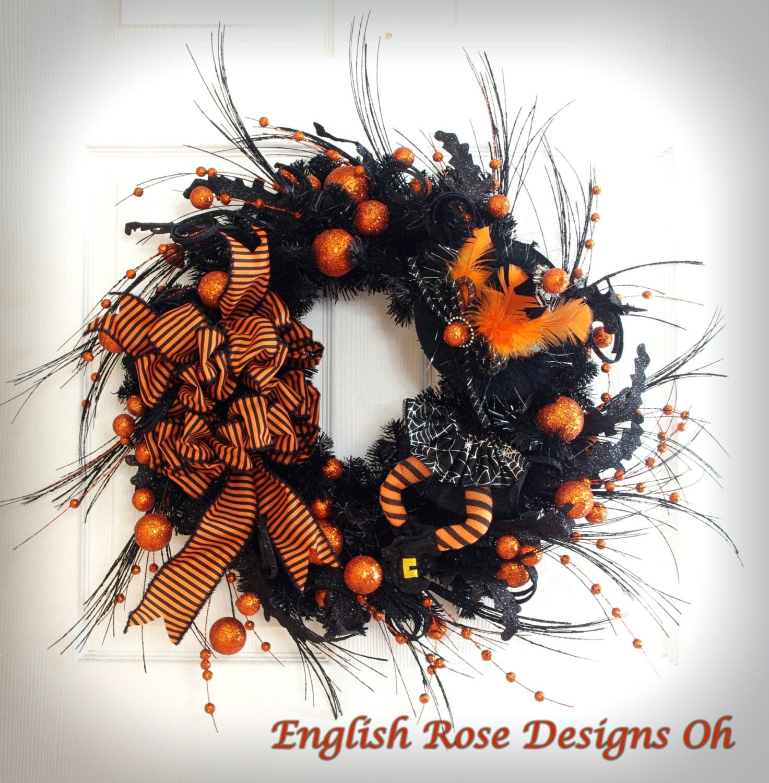 Black Flower And Crow Halloween Wreath: Halloween Wreath Black And Orange Wreath Witch Wreath
