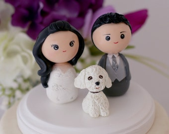 Personalized custom wedding cake topper bride groom One pet